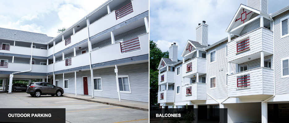 View of outside apartments, balconies and convenient parking spots
