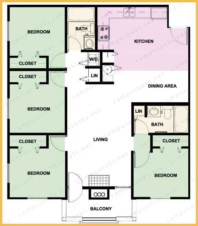 Campus Oaks Apartment Floor Plan